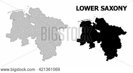Polygonal Mesh Map Of Lower Saxony State In High Detail Resolution. Mesh Lines, Triangles And Dots F