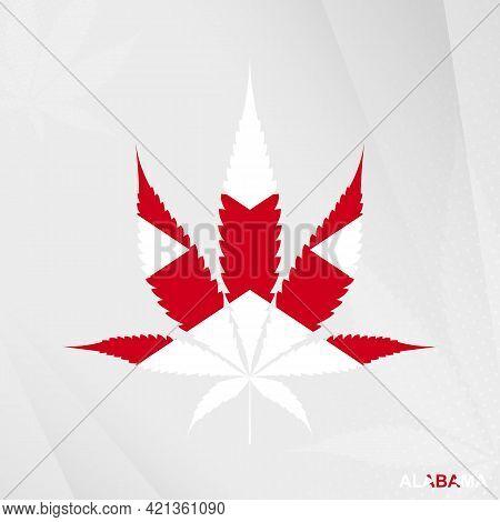 Flag Of Alabama In Marijuana Leaf Shape. The Concept Of Legalization Cannabis In Alabama. Medical Ca