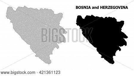 Polygonal Mesh Map Of Bosnia And Herzegovina In High Resolution. Mesh Lines, Triangles And Points Fo