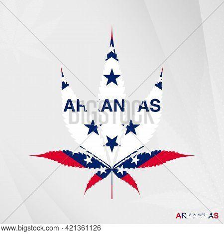 Flag Of Arkansas In Marijuana Leaf Shape. The Concept Of Legalization Cannabis In Arkansas. Medical