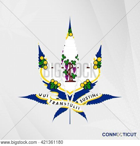 Flag Of Connecticut In Marijuana Leaf Shape. The Concept Of Legalization Cannabis In Connecticut. Me