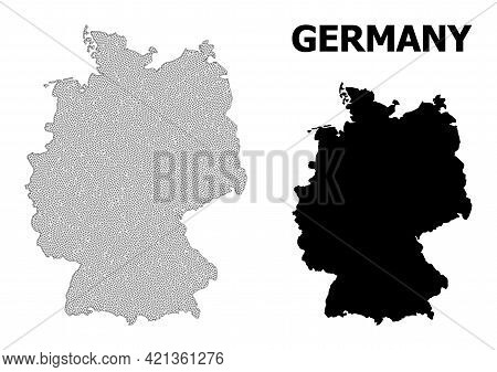 Polygonal Mesh Map Of Germany In High Detail Resolution. Mesh Lines, Triangles And Points Form Map O