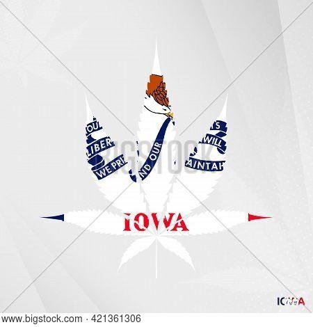 Flag Of Iowa In Marijuana Leaf Shape. The Concept Of Legalization Cannabis In Iowa. Medical Cannabis