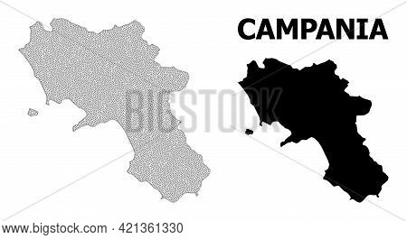 Polygonal Mesh Map Of Campania Region In High Detail Resolution. Mesh Lines, Triangles And Dots Form