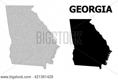 Polygonal Mesh Map Of Georgia State In High Resolution. Mesh Lines, Triangles And Dots Form Map Of G