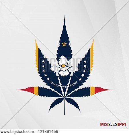 Flag Of Mississippi In Marijuana Leaf Shape. The Concept Of Legalization Cannabis In Mississippi. Me