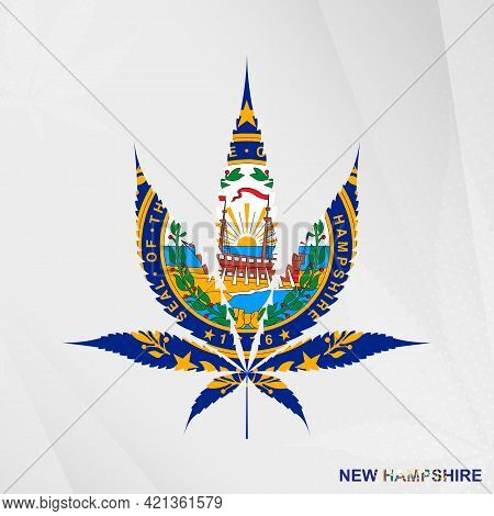 Flag Of New Hampshire In Marijuana Leaf Shape. The Concept Of Legalization Cannabis In New Hampshire