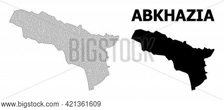 Polygonal Mesh Map Of Abkhazia In High Resolution. Mesh Lines, Triangles And Dots Form Map Of Abkhaz