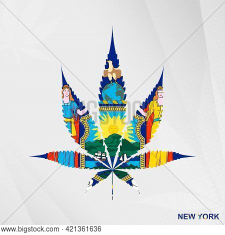 Flag Of New York In Marijuana Leaf Shape. The Concept Of Legalization Cannabis In New York. Medical