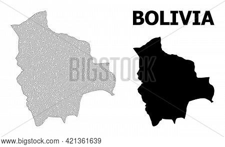 Polygonal Mesh Map Of Bolivia In High Resolution. Mesh Lines, Triangles And Dots Form Map Of Bolivia