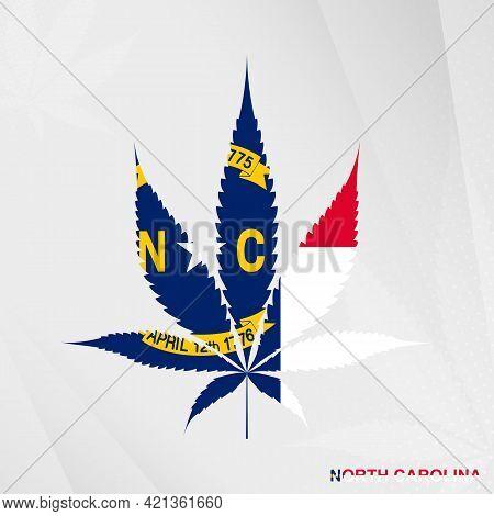 Flag Of North Carolina In Marijuana Leaf Shape. The Concept Of Legalization Cannabis In North Caroli
