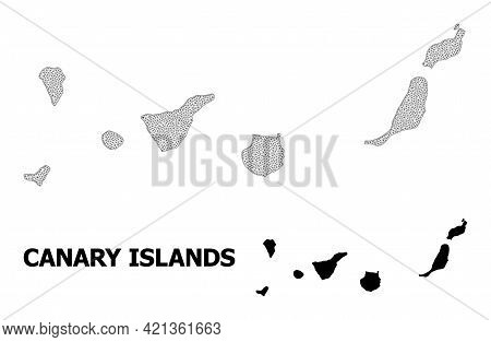 Polygonal Mesh Map Of Canary Islands In High Detail Resolution. Mesh Lines, Triangles And Dots Form