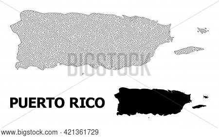 Polygonal Mesh Map Of Puerto Rico In High Resolution. Mesh Lines, Triangles And Dots Form Map Of Pue