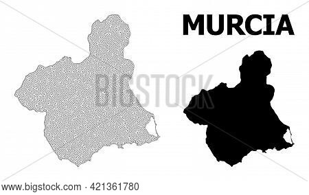 Polygonal Mesh Map Of Murcia Province In High Detail Resolution. Mesh Lines, Triangles And Dots Form