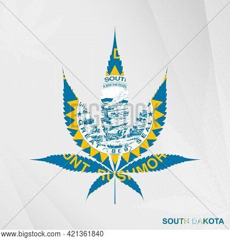 Flag Of South Dakota In Marijuana Leaf Shape. The Concept Of Legalization Cannabis In South Dakota.