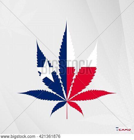 Flag Of Texas In Marijuana Leaf Shape. The Concept Of Legalization Cannabis In Texas. Medical Cannab