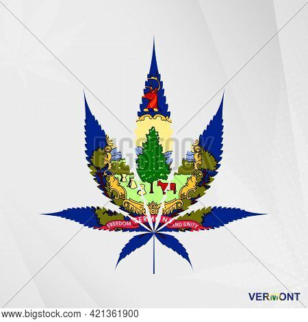 Flag Of Vermont In Marijuana Leaf Shape. The Concept Of Legalization Cannabis In Vermont. Medical Ca