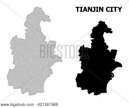 Polygonal Mesh Map Of Tianjin Municipality In High Resolution. Mesh Lines, Triangles And Points Form