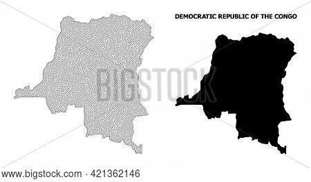 Polygonal Mesh Map Of Democratic Republic Of The Congo In High Detail Resolution. Mesh Lines, Triang