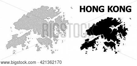 Polygonal Mesh Map Of Hong Kong In High Detail Resolution. Mesh Lines, Triangles And Dots Form Map O