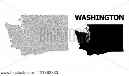 Polygonal Mesh Map Of Washington State In High Detail Resolution. Mesh Lines, Triangles And Dots For