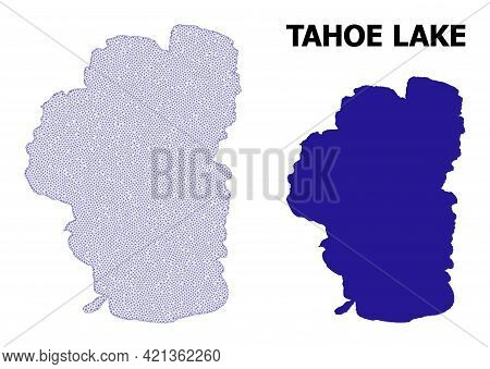 Polygonal Mesh Map Of Tahoe Lake In High Detail Resolution. Mesh Lines, Triangles And Points Form Ma