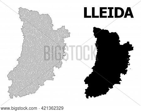Polygonal Mesh Map Of Lleida Province In High Detail Resolution. Mesh Lines, Triangles And Dots Form