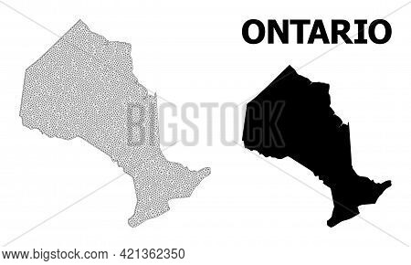 Polygonal Mesh Map Of Ontario Province In High Detail Resolution. Mesh Lines, Triangles And Points F
