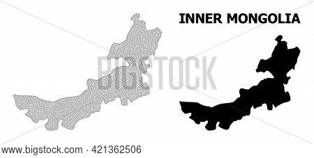 Polygonal Mesh Map Of Inner Mongolia In High Detail Resolution. Mesh Lines, Triangles And Points For