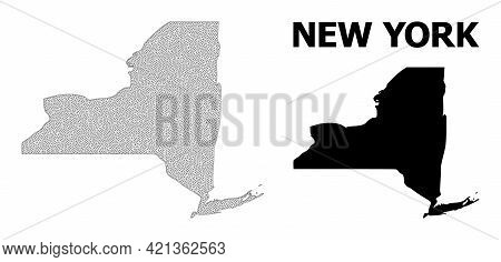 Polygonal Mesh Map Of New York State In High Detail Resolution. Mesh Lines, Triangles And Dots Form