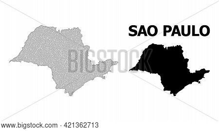 Polygonal Mesh Map Of Sao Paulo State In High Detail Resolution. Mesh Lines, Triangles And Dots Form