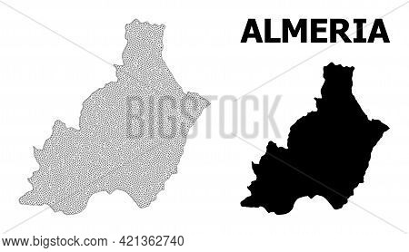 Polygonal Mesh Map Of Almeria Province In High Detail Resolution. Mesh Lines, Triangles And Dots For