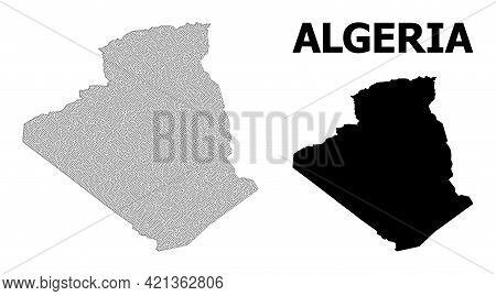 Polygonal Mesh Map Of Algeria In High Detail Resolution. Mesh Lines, Triangles And Points Form Map O