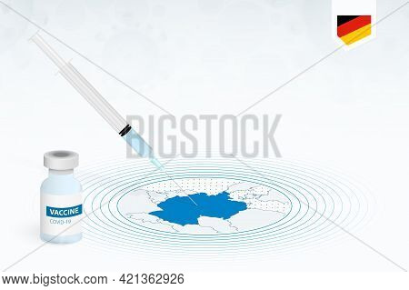 Covid-19 Vaccination In Germany, Coronavirus Vaccination Illustration With Vaccine Bottle And Syring
