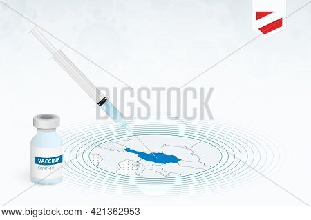 Covid-19 Vaccination In Austria, Coronavirus Vaccination Illustration With Vaccine Bottle And Syring