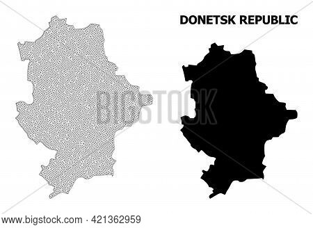 Polygonal Mesh Map Of Donetsk Republic In High Resolution. Mesh Lines, Triangles And Points Form Map