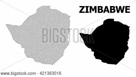 Polygonal Mesh Map Of Zimbabwe In High Resolution. Mesh Lines, Triangles And Points Form Map Of Zimb