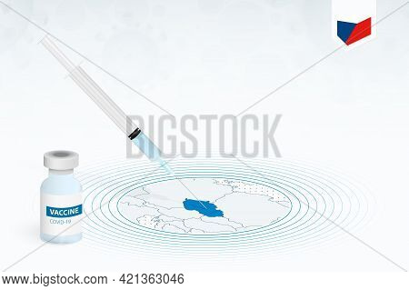 Covid-19 Vaccination In Czech Republic, Coronavirus Vaccination Illustration With Vaccine Bottle And
