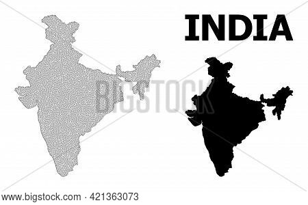 Polygonal Mesh Map Of India In High Detail Resolution. Mesh Lines, Triangles And Dots Form Map Of In