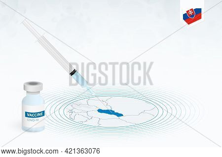 Covid-19 Vaccination In Slovakia, Coronavirus Vaccination Illustration With Vaccine Bottle And Syrin