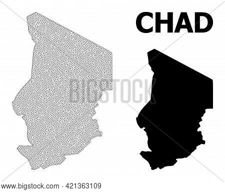 Polygonal Mesh Map Of Chad In High Resolution. Mesh Lines, Triangles And Points Form Map Of Chad. Hi