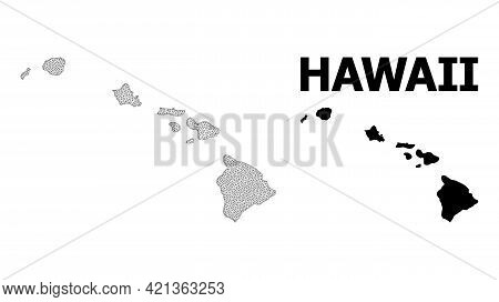 Polygonal Mesh Map Of Hawaii State In High Detail Resolution. Mesh Lines, Triangles And Points Form