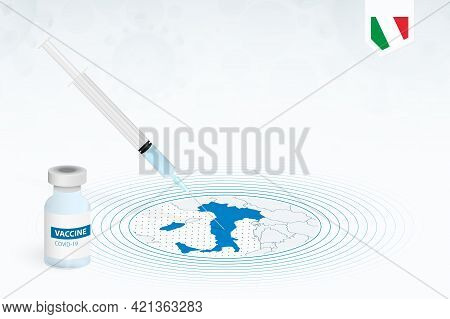 Covid-19 Vaccination In Italy, Coronavirus Vaccination Illustration With Vaccine Bottle And Syringe