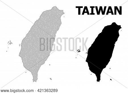 Polygonal Mesh Map Of Taiwan In High Detail Resolution. Mesh Lines, Triangles And Points Form Map Of