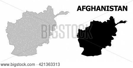 Polygonal Mesh Map Of Afghanistan In High Detail Resolution. Mesh Lines, Triangles And Dots Form Map