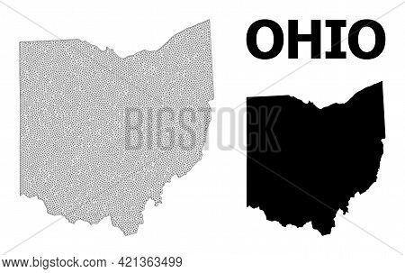 Polygonal Mesh Map Of Ohio State In High Detail Resolution. Mesh Lines, Triangles And Dots Form Map
