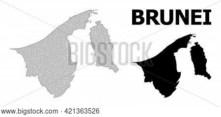 Polygonal Mesh Map Of Brunei In High Detail Resolution. Mesh Lines, Triangles And Dots Form Map Of B