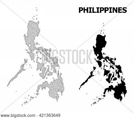 Polygonal Mesh Map Of Philippines In High Detail Resolution. Mesh Lines, Triangles And Dots Form Map