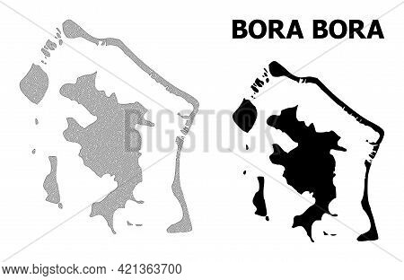 Polygonal Mesh Map Of Bora-bora In High Detail Resolution. Mesh Lines, Triangles And Dots Form Map O
