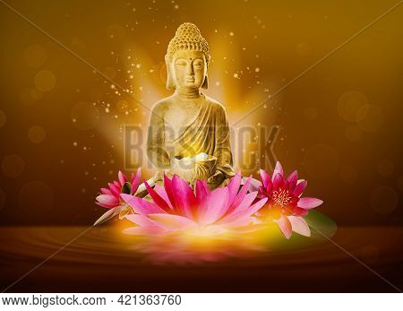 Beautiful Composition With Buddha Sculpture And Flowers On Water Surface
